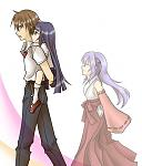 Keiichi giving Rika a piggyback ride while Hanyuu is just keeping an eye on them. Hehe. :D