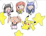 happy reisen pikachu, Tewi, Hali and another Rabbit I made up.