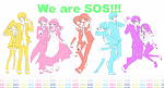 """We are SOS!!""  Full-sized link: http://i62.photobucket.com/albums/h109/51793Moeman/SOS-tachiNaraDaijobu.png"
