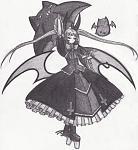 Rachel from Blazblue, a Gothic Lolita styled, tsundere loli vampire mahou shoujo.