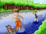The characters are original, Its just two kids playing in a river with a dog. I'll leave it up to you to interpret whats going on.    I originally...