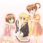 Nanoha and Hayate doing Fate's hair